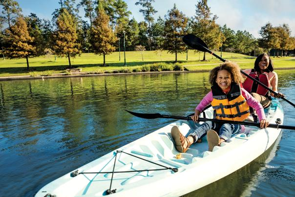 Kayaking Family on The Woodlands Waterway