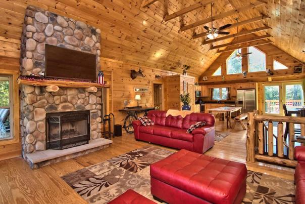 Log cabin living room in the Pocono Mountains