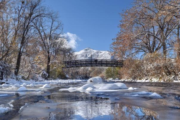 Clear Creek and bridge in winter