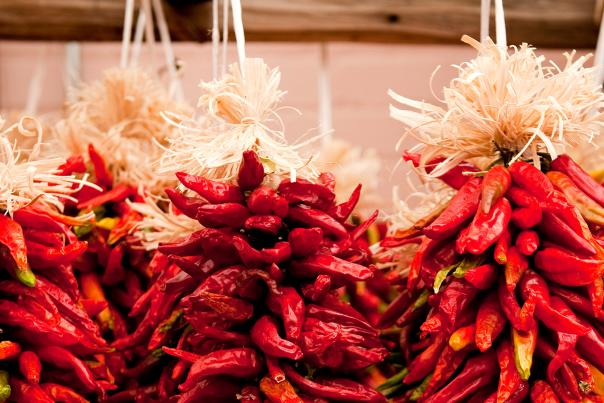 Hanging Red Chile Pepper Ristras in New Mexico