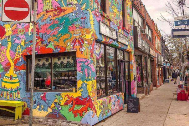 Street art on Gerrard Street's Little India
