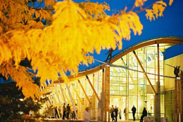 Rotary Centre for the Arts Atrium by Night, Kelowna BC