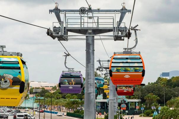 Disney Skyliner will begin carrying guests high above Walt Disney World Resort in Lake Buena Vista, Fla., on Sept. 29, 2019. The state-of-the-art transportation system will feature custom cabins that glide through the air, conveniently transporting guests between Disney's Hollywood Studios and Epcot to four resort hotels – Disney's Art of Animation Resort, Disney's Caribbean Beach Resort, Disney's Pop Century Resort and the new Disney's Riviera Resort, scheduled to open in December 2019.