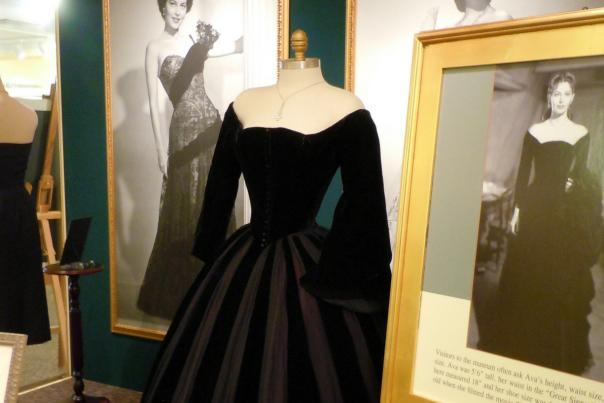 Ava Gardner starred in the movie The Great Sinner with Gregory Peck, and wore this stunning black dress with an 18 inch waist.