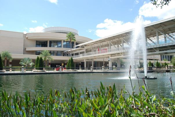 Orange County Convention Center West exterior and fountain