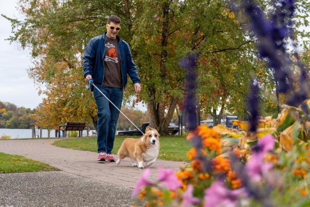 Walking a dog near Reeds Lake.