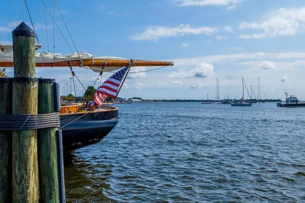 A view from the Annapolis harbor to the Chesapeake Bay