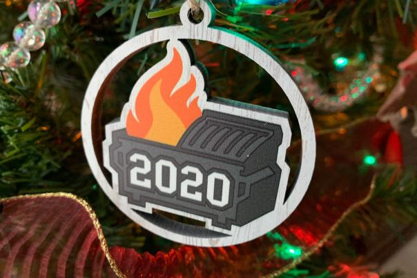 2020 MRC Wood Products dumpster fire ornament
