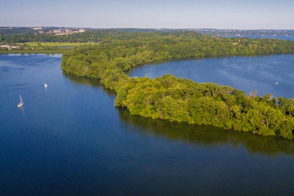 An aerial view of Picnic Point in Madison, WI