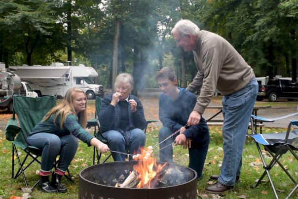 Family bonfire at Johnny Appleseed Park and Campground