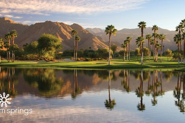 Mountains, palm trees and lake landscape