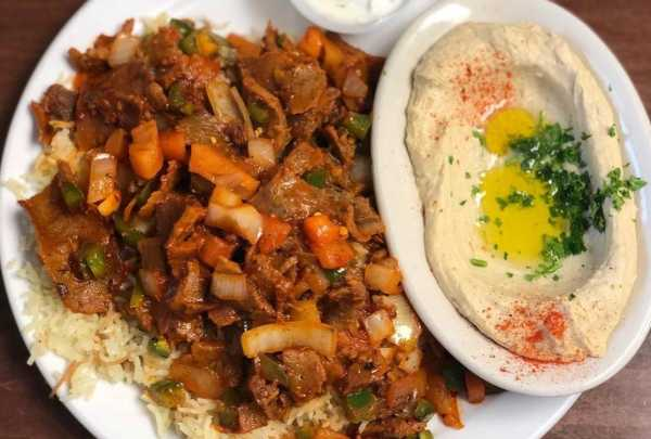 Chicken shawarma and hummus at Prince Lebanese