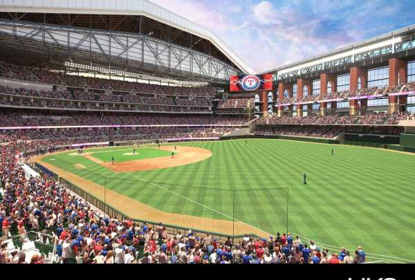 Right field view with open roof of Globe life Field