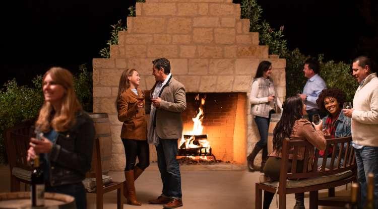 Christmas Fireplace at Becker Vineyards