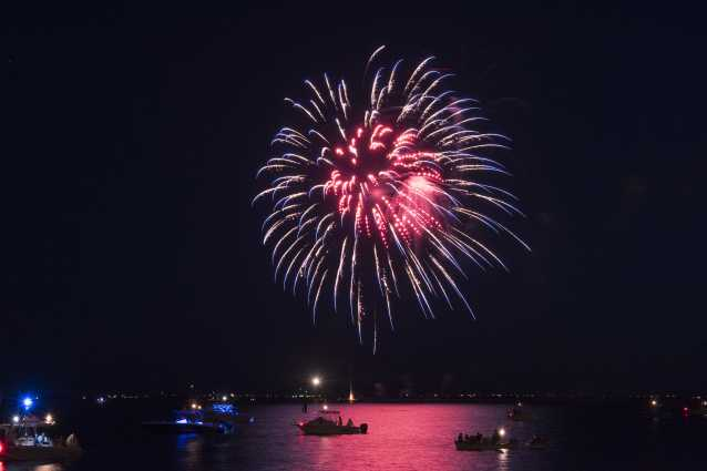 Fireworks over the Cape Fear River at NC 4th of July Festival in Southport