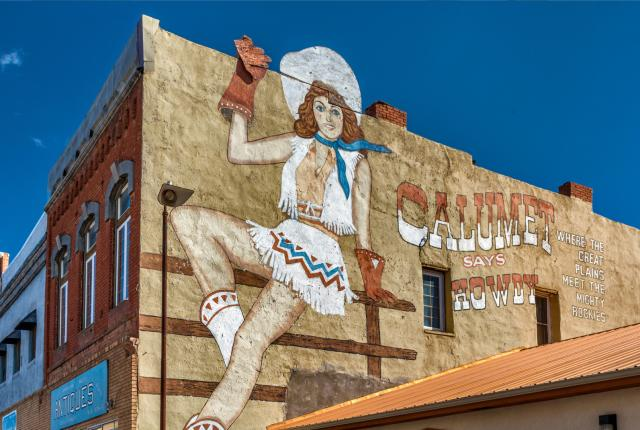 Calumet Says Howdy mural from the 1984 cult classic Red Dawn, Las Vegas, New Mexico, New Mexico Magazine
