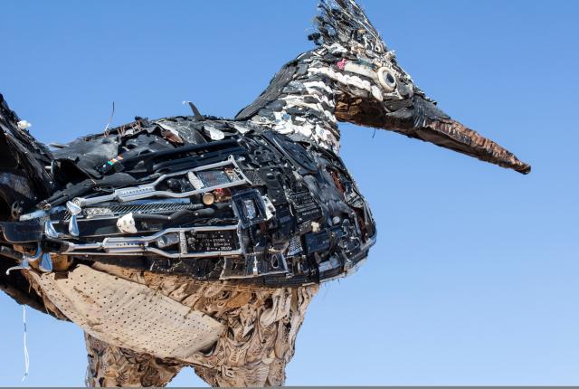 Roadrunner, Big Bird, Scenic Overlook rest area on I-10, New Mexico Magazine