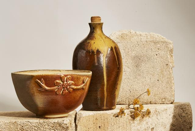 Wood-fired bowl and bottle from Earthfired Pottery