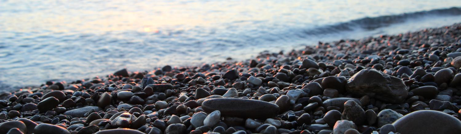 Lake Michigan Pebbles with sunrise
