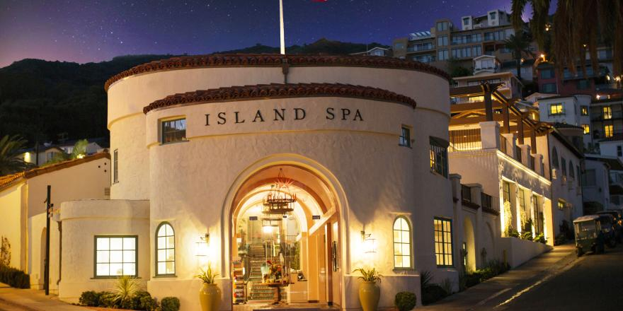 Exterior of Island Spa on Catalina Island at night
