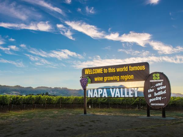 Napa Valley sign: Welcome to this world famous wine growing region