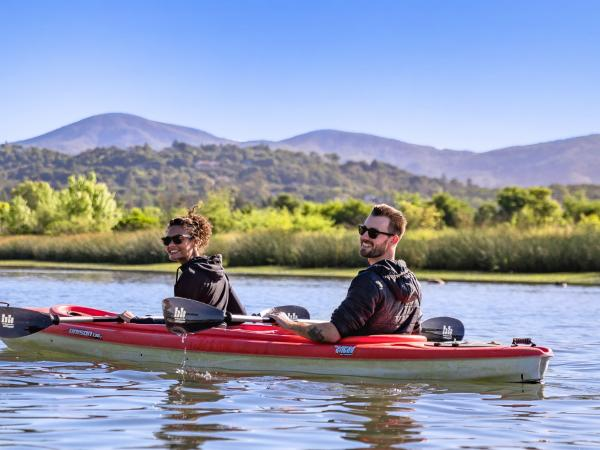 Two Men Kayaking on the Napa River in Napa Valley, CA