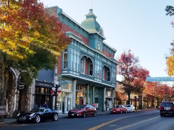 St. Helena main street in autumn