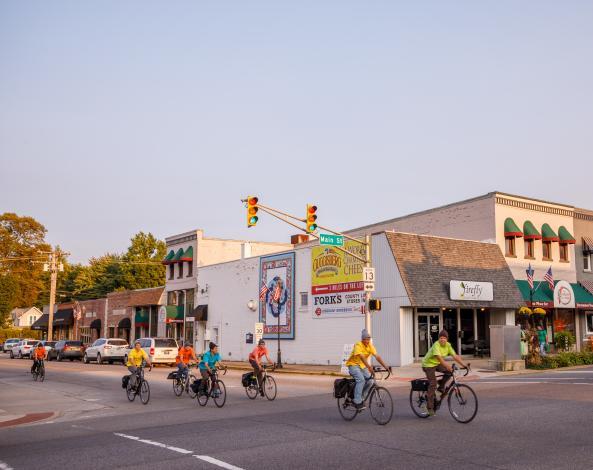 Biking in downtown Middlebury