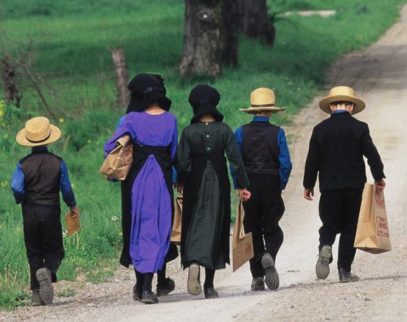Amish children walking