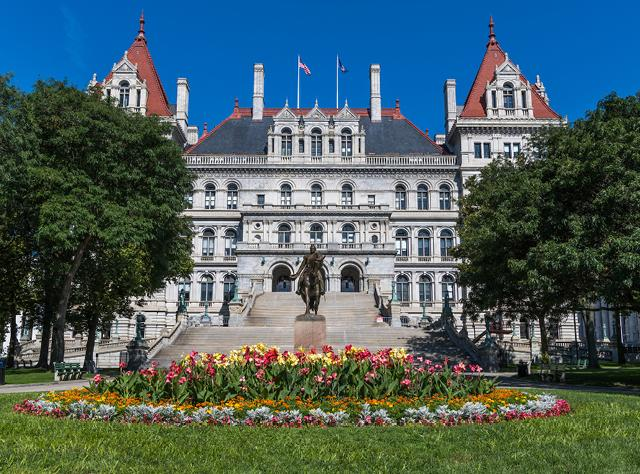 A photo of the exterior of the New York State Capitol building in Albany