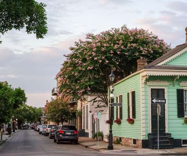 The French Quarter at sunset