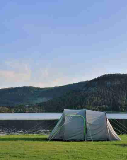 Telt på Neset camping i Setesdal
