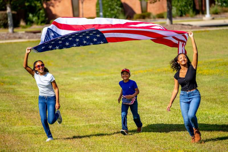 Active Family with Flag