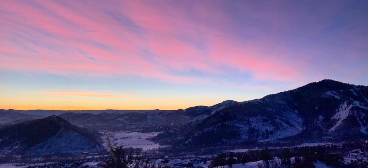 Colorful sunrise over mountains