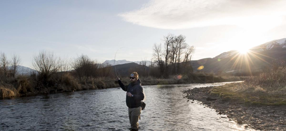 Spend a beautiful winter evening fly fishing on the Provo River