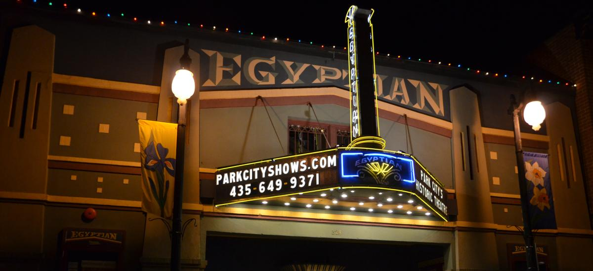 Exterior of Egyptian theater at night