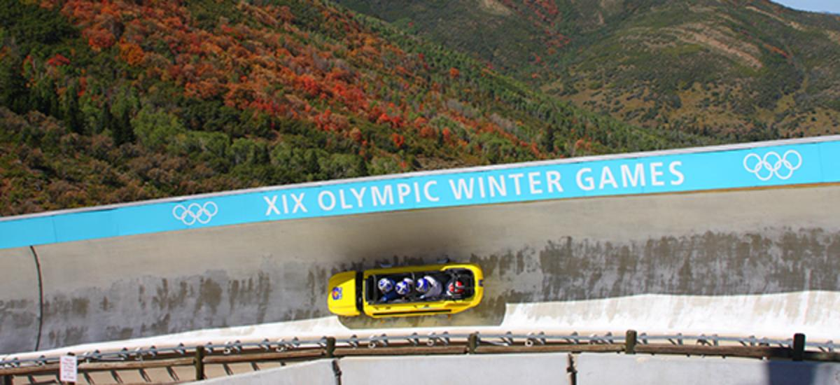 Summer Bobsled with wheels on a bobsled track