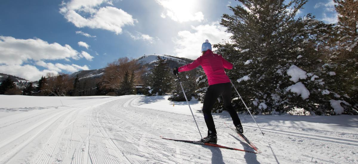 Woman Nordic Skiing during the day