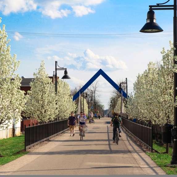 People biking and walking the B-Line Trail
