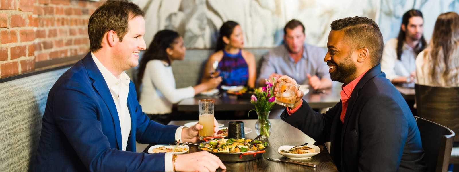 Couple dining inside of Hendrix