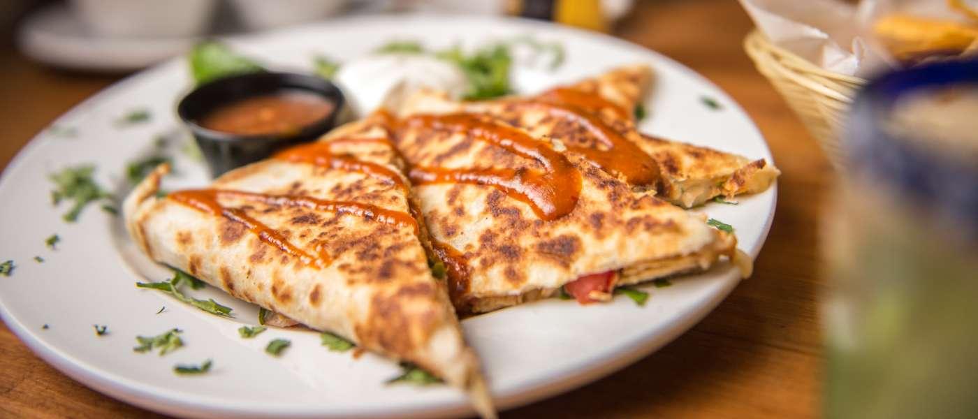 BBQ chicken quesadilla at Cantina 76