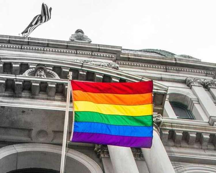 Pride flag at Providence City Hall,