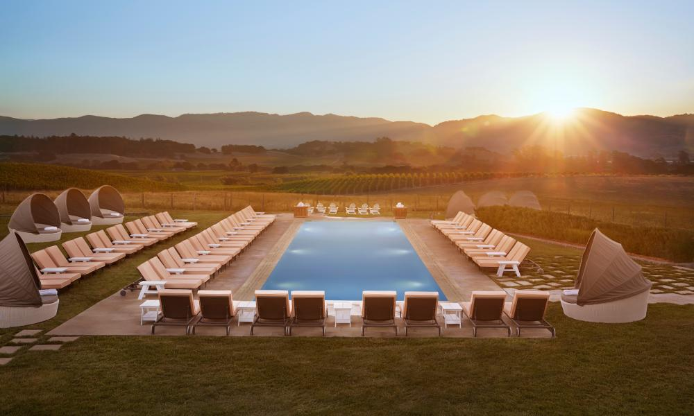 Carneros Resort & Spa pool in late afternoon sun