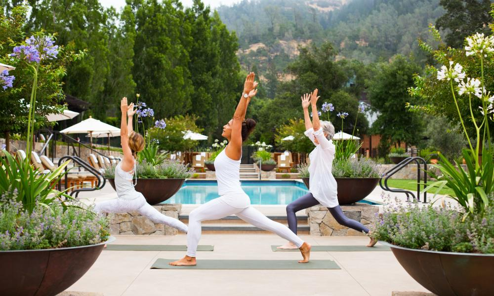 Calistoga Ranch poolside yoga