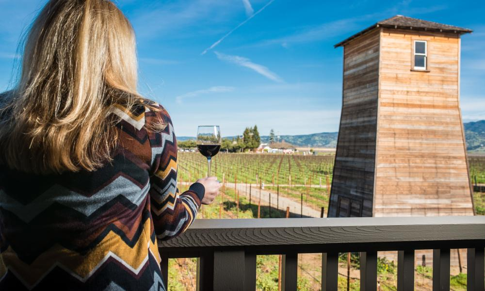 Woman drinking wine at Napa Valley winery