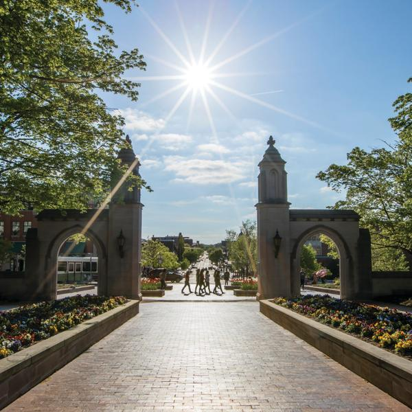 Cobblestone walkway and entrance to Indiana University