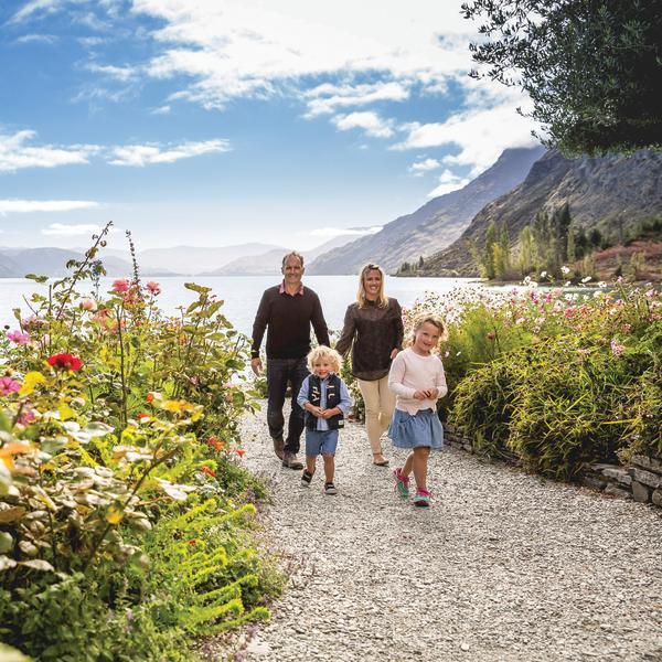 Family walks at Walter Peak in spring