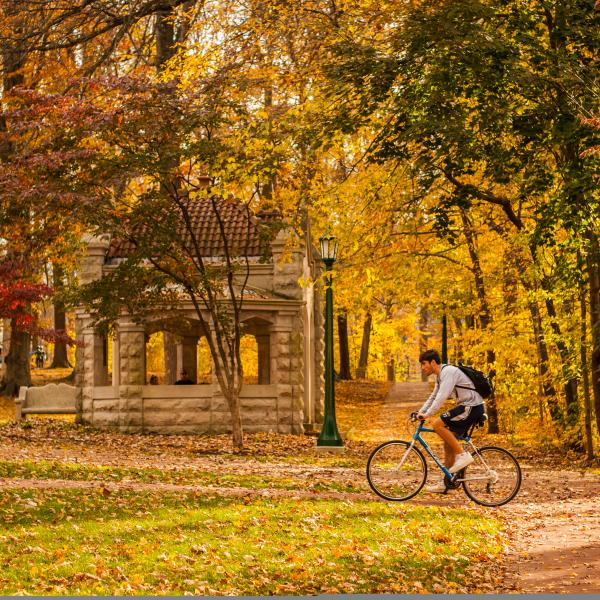 Fall Biker on Campus