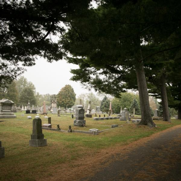 An overcast day at Rose Hill Cemetery in Bloomington, IN