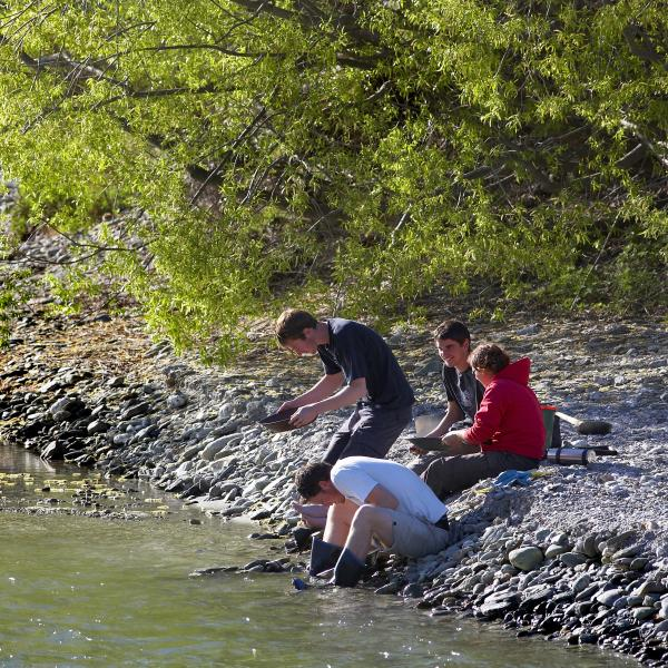 Gold Panning along the Arrow River